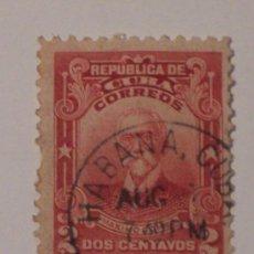 Sellos: REPUBLICA DE CUBA 2 CENTAVOS (MAXIMO GOMEZ) SELLO USADO Y CON SEÑAL DE FIJASELLOS. Lote 26221655
