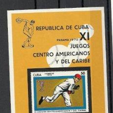 Sellos: CUBA 1970, YVERT Nº 34 **, HB, CAMPEONATOS DE BEISBOL AFICIONADO.. Lote 28379066