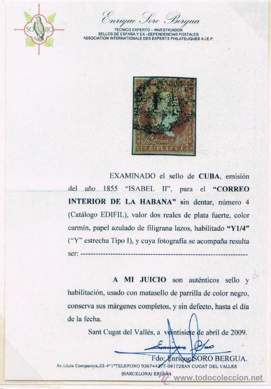 Sellos: Cuba 1855 Primer sello sobrecargado del Mundo - Foto 2 - 28747159