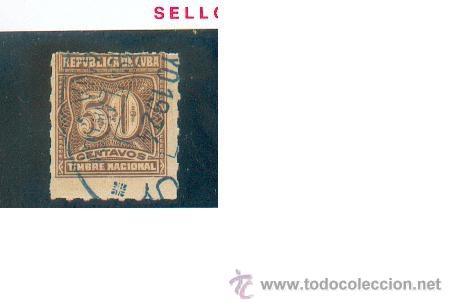REPÚBLICA DE CUBA, SELLO DE 5 CTS. TIMBRE NACIONAL. PRECIOSO (Sellos - Extranjero - América - Cuba)