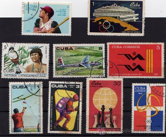 SELLOS DE CUBA, 5 SELLOS DE 1974, 2 DE 1969, 1 DE 1972 Y 1 DE 1987, TODOS USADOS (Sellos - Extranjero - América - Cuba)