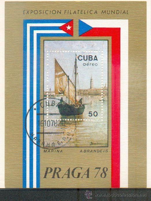 PRECIOSA HOJA BLOQUE EXPOSICIÓN PRAGA 78- TEMÁTICA PINTURAS MARINAS. (Sellos - Extranjero - América - Cuba)