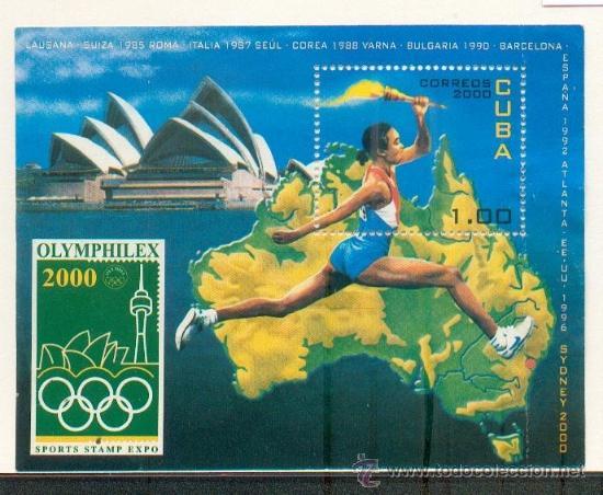 HOJA BLOQUE OLYMPHILEX 2000- TEMÁTICA DEPORTES Y OLIMPIADAS (Sellos - Extranjero - América - Cuba)