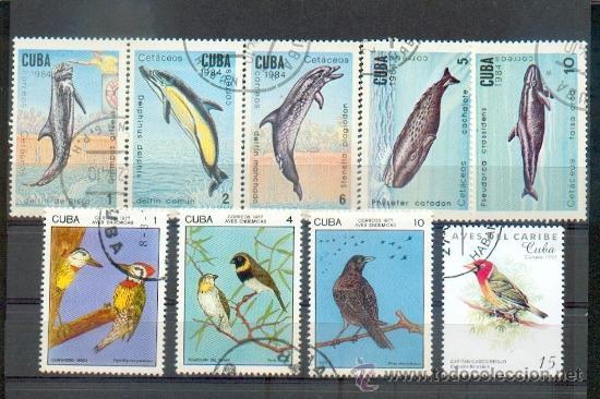FAUNA.- 9 SELLOS DIVERSOS DE ANIMALES. (Sellos - Extranjero - América - Cuba)