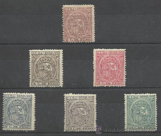 RARA SERIE DE SELLOS FISCALES DE CUBA DE 1898 TIMBRES MOVILES CHARNELA CATALOGO GÁLVEZ (Sellos - Extranjero - América - Cuba)