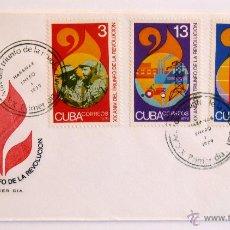 Sellos: CUBA. SOBRE FILATELICO 1º DIA. XX ANIVERSARIO TRIUNFO DE LA REVOLUCION. LA HABANA 1979.. Lote 46139197