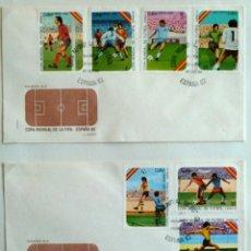 Francobolli: CUBA. SOBRE FILATELICO 1º DIA. COPA DEL MUNDO DE FUTBOL ESPAÑA 82.. LA HABANA 1982. DOS SOBRES.. Lote 46175539