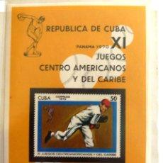 Sellos: HB CUBA 1970. JUEGOS CENTROAMERICANOS Y DEL CARIBE. NUEVO. BEISBOL.. Lote 46214379