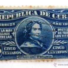 Sellos: SELLOS CUBA 1914. USADO CON CHARNELA. GERTRUDIS GOMEZ DE AVELLANEDA.. Lote 56295208