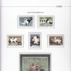 Sellos: CUBA 2005 - GATOS DOMESTICOS - 5 SELLOS + HOJITA. Lote 48761140