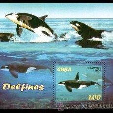 Sellos: CUBA 2004 - FAUNA DELFINES - HOJITA BLOQUE. Lote 49154689