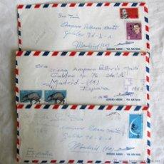 Sellos: 3 CARTAS CORREO AÉREO CUBA - MADRID 1964-65. Lote 50076198