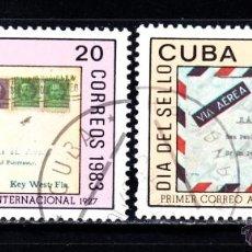 Sellos: CUBA 2436/37 - AÑO 1983 - DIA DEL SELLO. Lote 50711750