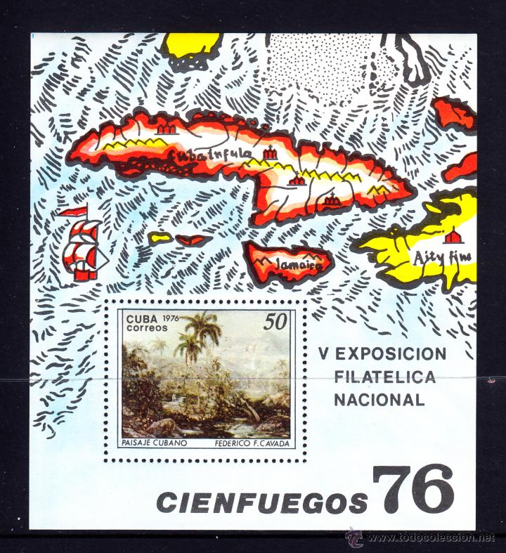 CUBA HB 47** - AÑO 1976 - EXPOSICION FILATELICA NACIONAL - PINTURA - OBRA DE F. C. CAVALDA (Sellos - Extranjero - América - Cuba)