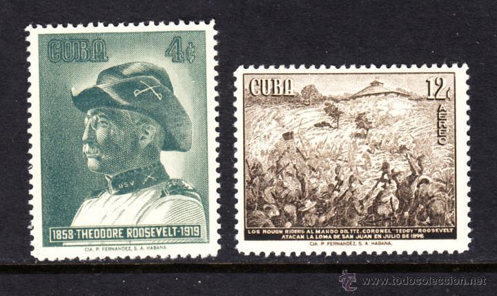 CUBA 495 Y AÉREO 192* - AÑO 1958 - CENTENARIO DEL NACIMIENTO DE THEODORE ROOSEVELT (Sellos - Extranjero - América - Cuba)