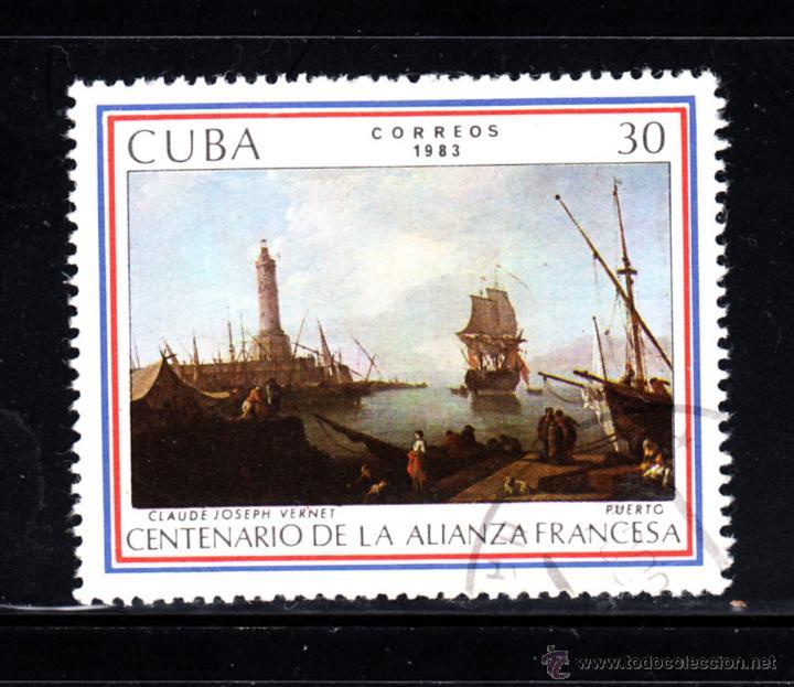 CUBA 2450 - AÑO 1983 - CENTENARIO DE LA ALIANZA FRANCESA - PINTURA - OBRA DE VERNET (Sellos - Extranjero - América - Cuba)