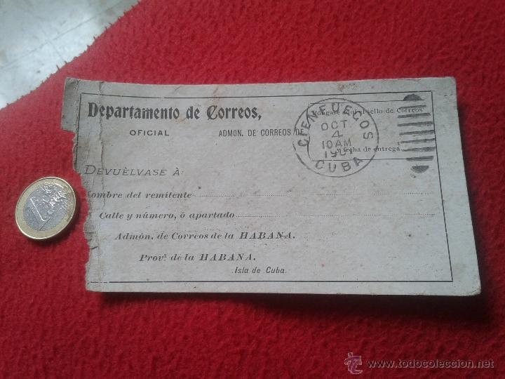 RECIBO DE CERTIFICADOS REMITIDOS DEPARTAMENTO CORREOS CUBA MATASELLOS CIENFUEGOS 1901 PARA COLECCION (Sellos - Extranjero - América - Cuba)