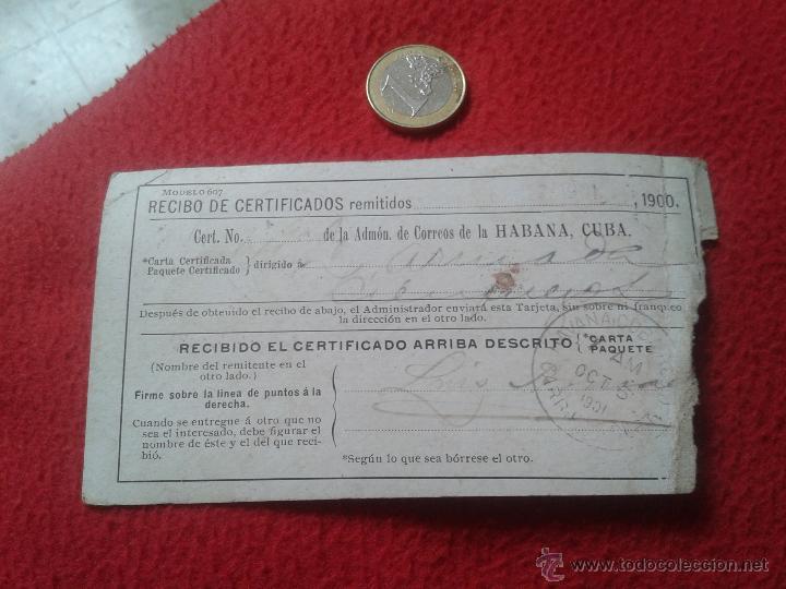 Sellos: RECIBO DE CERTIFICADOS REMITIDOS DEPARTAMENTO CORREOS CUBA MATASELLOS CIENFUEGOS 1901 PARA COLECCION - Foto 2 - 52498653