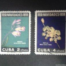 Sellos: SELLOS DE CUBA. NAVIDAD. FLORA. YVERT 496/7 SERIE COMPLETA USADA.. Lote 54585321