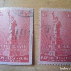 Sellos: LOTE SELLOS ANTIGUOS REPUBLICA CUBA - LIBERTAD DEMOCRACIA AMERICA - DENTADO Y SIN DENTAR. Lote 62197780
