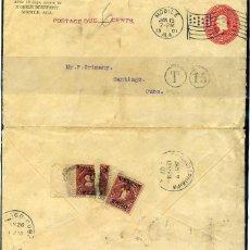 Sellos: CUBA OCUPACION AMERICANA SOBRE ENTERO POSTAL CON SELLOS DE TASA. Lote 71822927