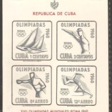 Sellos: CUBA 1960,HOJITA CAT.MI. BL.18.NUEVA,GOMA ORIGINAL,SIN FIJASELLOS.. Lote 72081043