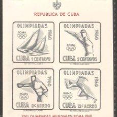 Sellos: CUBA 1960,HOJITA CAT.MI. BL.18.NUEVA,GOMA ORIGINAL, FIJASELLOS.. Lote 72081379
