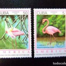 Sellos: CUBA 1993 AMÉRICA UPAEP FAUNA EN PELIGRO YVERT 3323 / 3324 ** MNH. Lote 86288944