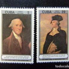 Sellos: CUBA 1982 250 ANIVERSARIO DEL NACIMIENTO GEORGE WASHINGTON YVERT 2406 / 2407 ** MNH. Lote 86395728