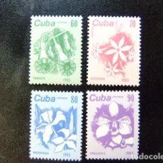 Sellos: CUBA 1983 SERIE CORRIENTE FLORES YVERT & TELLIER N º 2474 / 2477 ** MNH . Lote 86396588