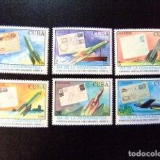 Sellos: CUBA 1990 COSMONAUTICA CORREO POSTAL POR COHETES YVERT 3015 / 3020 ** MNH . Lote 86433380