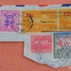 Sellos: HABANA, CUBA SOBRE FRAGMENTO PAREJA YVERT 528, PAREJA AVION YV A 200, YV 477 Y MONCADA YV 520. Lote 88136872