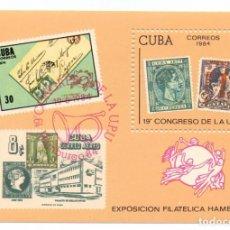 Sellos: HOJA FILATELICA CUBA EXPOSICIÓN MUNDIAL DE HAMBURGO 1984 MNH NUEVA . Lote 95560579