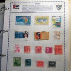 Sellos: CUBA, 11 HOJAS CON 130 SELLOS USADOS CON CHARNELA DIFERENTES . Lote 100479399