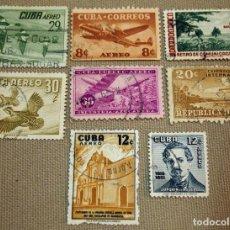 Sellos: LOTE DE 8 SELLOS DE CUBA, CORREO AEREO, USADOS, SIN CHARNELA. Lote 102455639