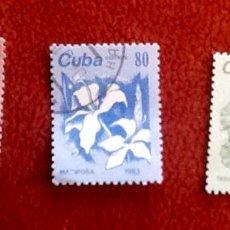 Sellos: CUBA 3 SELLOS. FLORES. . ENVIO INCLUIDO EN EL PRECIO. Lote 109173015
