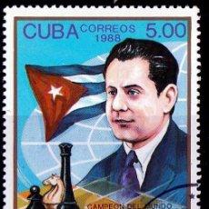 Sellos: CUBA . 1988. 100º ANIV,NACIMIENTO JOSE CAPABLANCA, AJEDRECISTA. *MH (18-98). Lote 113156007