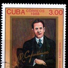 Sellos: CUBA . 1988. 100º ANIV,NACIMIENTO JOSE CAPABLANCA, AJEDRECISTA. *MH (18-99). Lote 113156267