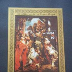 Sellos: HOJA DE BLOQUE CUBA ARTE PINTURA RUBENS NUEVOS CON GOMA. Lote 117021479