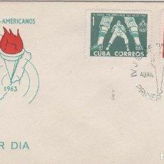 Sellos: SOBRE PRIMER DIA CUBA SELLOS DEPORTES JUEGOS PAN AMERICANOS BEISBOL BOXEO. Lote 127699599