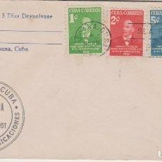 Sellos: SOBRE PRIMER DIA CUBA AÑO 1951 SELLOS. Lote 127700147