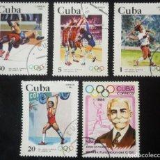 Sellos: LOTE DE CINCO SELLOS DE CUBA. TEMA JUEGOS OLIMPICOS DE LOS ANGELES 1984. Lote 128963651