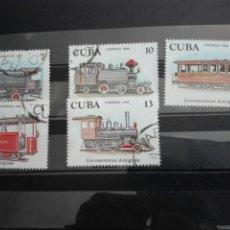 Sellos: SELLOS CUBA AÑO 1980. CON MATASELLOS. TRENES LOCOMOTORES. 5 VALORES. Lote 133323609