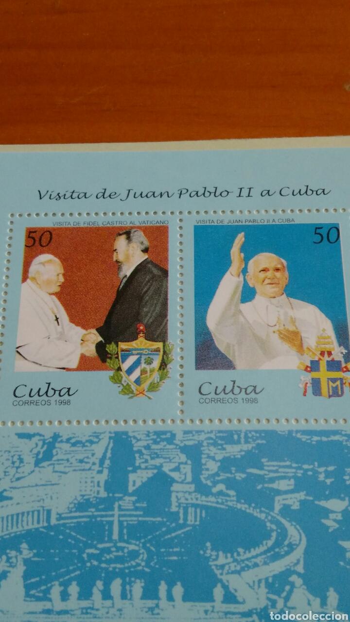 Sellos: SELLOS NUEVOS EN SU PLIEGO, VISITA JUAN PABLO II A CUBA 1998 - Foto 2 - 136262148