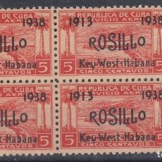 Sellos: CUBA.- AEREO Nº 30 ROSILLO BLOQUE DE CUATRO NUEVO SIN CHARNELA.. Lote 136538484