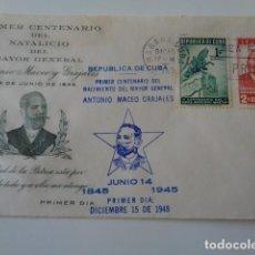 Sellos: CUBA. I CENTENARIO DEL NACIMIENTO DEL GENERAL ANTONIO MACEO. FRONTAL. 2 SELLOS 1 Y 2 CENTS. 1945. Lote 139542046
