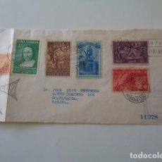 Sellos: CUBA. 19 MAYO 1944. COLÓN. ANIVERSARIO. FRONTAL CON 6 SELLOS CONMEMORATIVOS DE COLÓN.. Lote 139777994