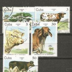 Sellos: CUBA YVERT NUM. 2570/2574 SERIE COMPLETA MATASELLADA. Lote 140788942