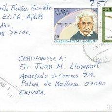 Sellos: 1996. CUBA. SOBRE CIRCULADO CERTIFICADO. VARIADO FRANQUEO. EINSTEIN. SCIENCE. AVES. BIRDS.. Lote 143159574
