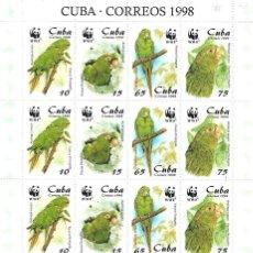 Sellos: CUBA PLIEGO DE CUATRO SERIES COMPLETA NUEVA PERFECTA 1998. Lote 145189330
